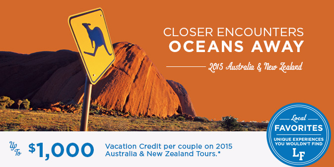 Up to $1,000 per couple Vacation Credit on 2015 South Pacific Tours