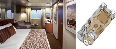 Holland America MS Nieuw Amsterdam Ocean-view Stateroom Category C, D