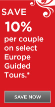 Save 10% off per person on select 2015 Europe vacations