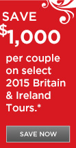 Save $1,000 per couple on select 2015 air-inclusive Britain & Ireland vacations with Delta/Virgin Atlantic