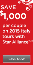 Save $1,000 per couple on 2015 Italy Tours