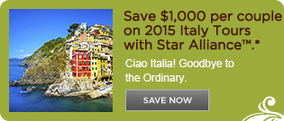 Save $1,000 per couple on 2015 Italy Tours with Star Alliance